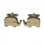 Houten manchetknopen olifant