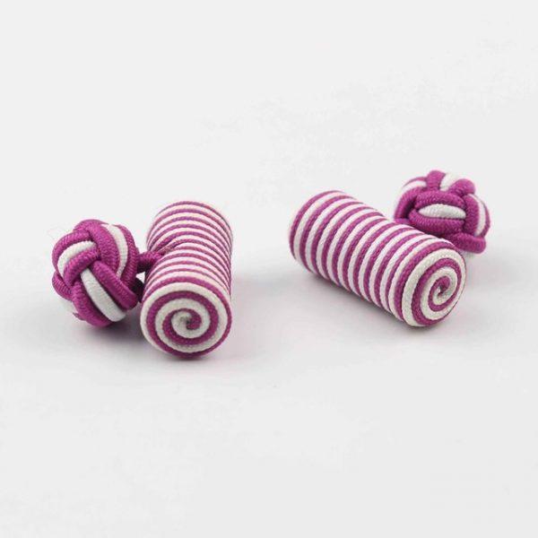 Cilinder roze-wit manchetknopen